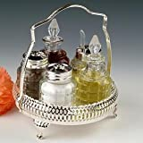 Cruet Set British with special finish that never needs Silver polishing includes salt pepper mustard oil vinegar
