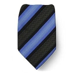 W-10152 - Brown - Blue - Black - Mens Silk Fashion Neck Tie