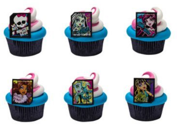 Monster High Cupcake Rings Party of 24 Cupcake Decoration Kit