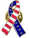 American Flag Pin & Ribbon Lapel Pin Set (1 of Each Design) - Support Our Troops Pins - USA Flag Pin