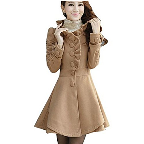 Partiss Womens Ruffles Collar PeaCoat Khaki,Medium