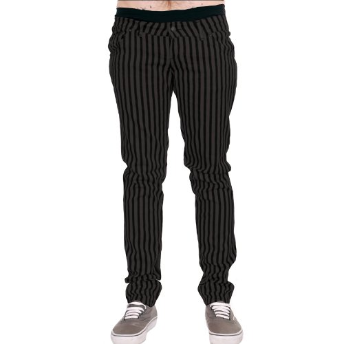 Mens Drainpipe Jeans Grey & Black Stripe Punk Rock Glam Indie Retro Vintage Goth (30)
