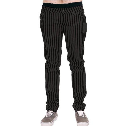 Mens Drainpipe Jeans Grey & Black Stripe Punk Rock Glam Indie Retro Vintage Goth (30)