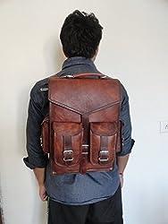 Handoleatherco Vintage Leather Macbook Briefcase 2-in-1 Leather School Bag Backpack Rucksack