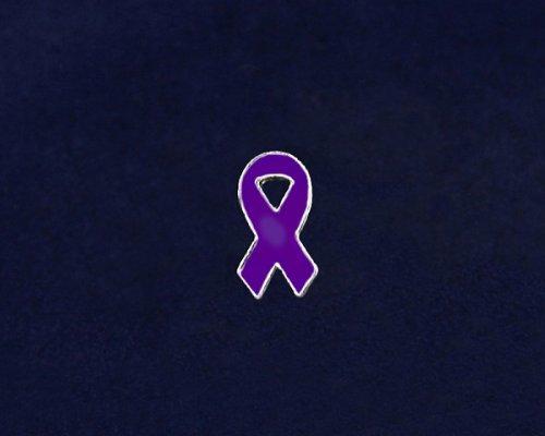 Purple Ribbon Pin - Small Flat Ribbon Pin (50 Pins)
