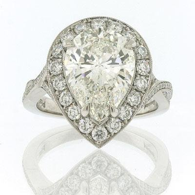5.36ct Pear Shape Diamond Engagement Anniversary Ring