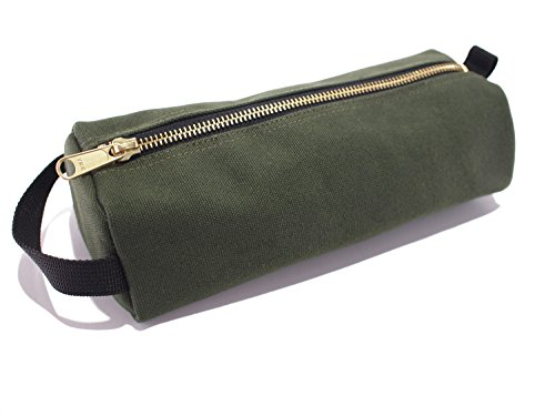 Rough Enough Highly Heavy Canvas Military Classic Small Tool Pencil Case Pouch (Raw Green)