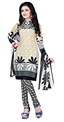 Jinal Fashion women's crepe dress material (Beige_color)