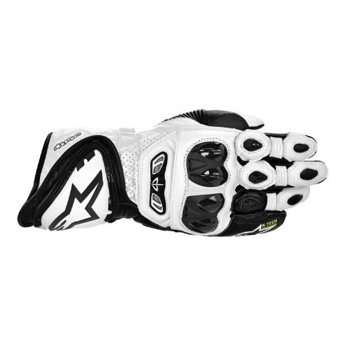 Alpinestars GP Tech Leather Gloves , Gender: Mens/Unisex, Primary Color: White, Size: Md, Distinct Name: Black/White, Apparel Material: Leather 3556613-21-M