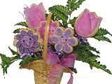 Purple Flowers Cookie Bouquet 5 cookies