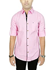 AA' Kuons Avenue Men's Baby Pink Linen Cotton Long Sleeve Casual Shirt