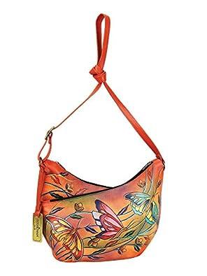 Anuschka Leather 518 U-Top Convertible Hobo Handbag (Angel Wings Tangerine)