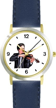 Watchbuddy Male Violin Player Or Violinist Classical Musician - Watchbuddy Deluxe Two-tone Theme Watch - Arabic Numbers - Blue Leather Strap-size-chil