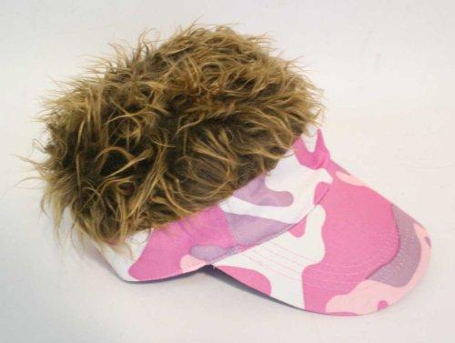 New Flair Hair Hat Cap - Pink Camo Visor w Brown Hair