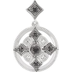 IceCarats Designer Jewelry 14K White Gold Black Spinel And Diamond Pendant 0.89 Inch