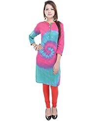 Beautiful Cotton Printed Green&Pink Color Kurti