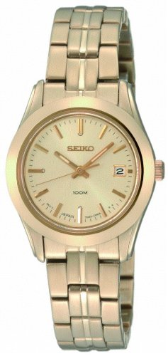 Seiko Ladies Quartz Analogue Watch SXDB38P1 with Gold Plated Bracelet and Champagne Dial