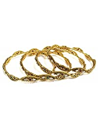 Shingar Jewellery Ksvk Jewels Antique Gold Plated Polki Kundan Bangles Set In 2.6 Size For Women (8188-m-2.6)