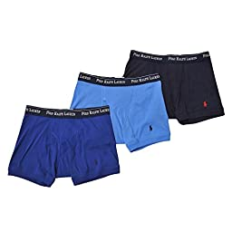 Polo Ralph Lauren Men\'s Boxer Briefs-3 Pack-Navy/Blue/Light Blue-XL