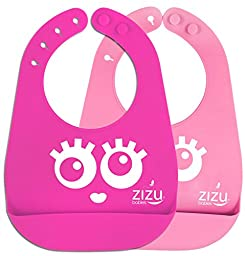 Best Baby Bib-Waterproof Silicone Bibs Easily Wipe Clean! Free Baby Temperature Spoon-Comfortable soft for Babies & Toddlers- Spend Less Time Cleaning after Meals - BPA Free &FDA Approved Bibs (Pink)