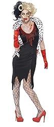 Ladies Zombie Cruella De Vil Halloween Evil Madame Dog Lady 101 Dalmatians Fancy Dress Costume Outfit 8-18