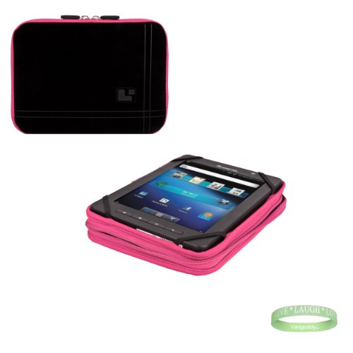 Black And Pink Sleve For Your Vizio Vtab1008 With Interior Padding + Vangoddy Bracelet!!!