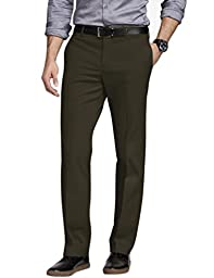 Match Men\'s Straight-fit Wrinkle-resistant Flat Front Dress Pants(36W x 32L, 8053 Army coffee)