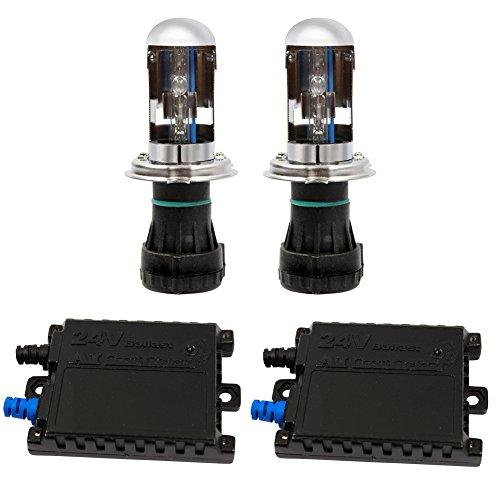 AKASHI 24V専用HIDキット 35W H4Hi/Lo リレーレス HIDコンバージョンキット6000K 極輝型バルブ 交流式 極薄安定型 快速点灯 ヘッドライト対応 3年保証