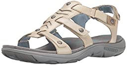 Merrell Women\'s Adhera Strap Sandal, Ivory, 7 M US
