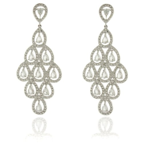 Silver Overlay Diamond Accent White Topaz Chandelier Dangle Earrings