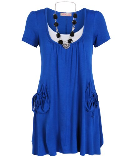 Krisp Womens Mini Dress Necklace Shortsleeve Tunic Undershirt Twin Set Top