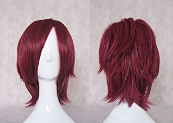 Sole Trader @ Japanese Anime Short Wine Red Straight Cosplay Costume Party Wigs