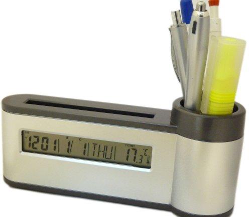 Nerd Clear® Stifteköcher Stiftebecher inkl Wetterstation und Datum + Wecker +...