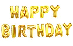 AwesomedaysIn Metallic HAPPY BIRTHDAY(13 Letters) Foil Balloons (GOLD)