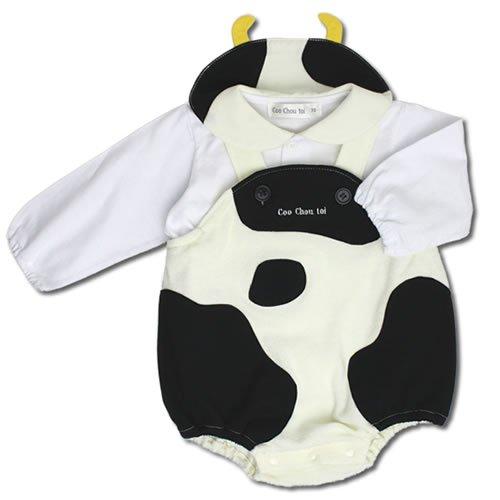 ウシ 牛 ブラウス ロンパース セット 70cm モノトーン ベビー コスチューム 衣装 着ぐるみ