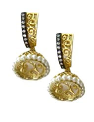 E-designs Rhodium / Gold Plated Earring With CZ Stone Alongwith Colour Stones Studded For Women - B00HSI8DM4
