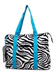 Ever Moda Zebra Print Extra Large Tote Bag with Coin Purse, Black and White with Blue Trim