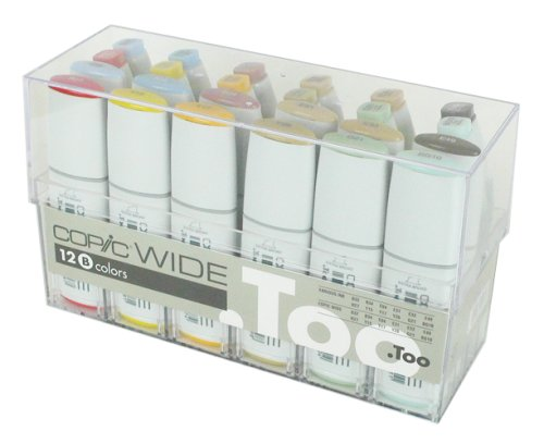 Copic Markers Wide 12 Set B And 12 Matching Inks Sketch