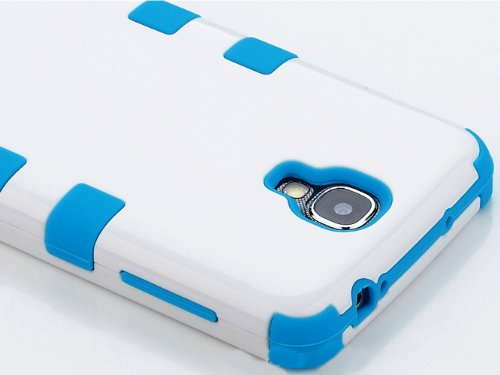 "Mylife (Tm) Sky Blue - White Matte Design (3 Piece Hybrid) Hard And Soft Case For The Samsung Galaxy S4 ""Fits Models: I9500, I9505, Sph-L720, Galaxy S Iv, Sgh-I337, Sch-I545, Sgh-M919, Sch-R970 And Galaxy S4 Lte-A Touch Phone"" (Fitted Front And Back Solid"