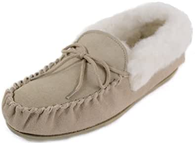 Ladies Tan Suede Moccasin Slippers with Hard Sole and Wool Cuff. Size 3