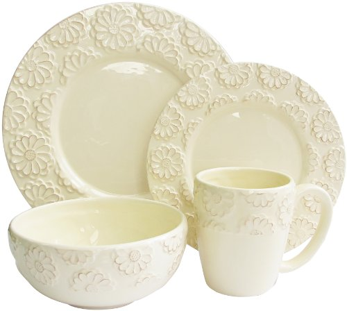 American Atelier 16-Piece Bianca Flower Dinnerware Set, Ivory