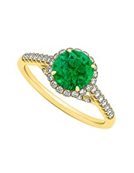 Emerald And CZ Specially Designed Engagement Ring In Yellow Gold Plated Vermeil Attractive Design