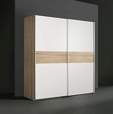 Schlafzimmer - Schiebeturenschrank / Kleiderschrank Pibor 04, Farbe: Sonoma Eiche / Weiß - Abmessungen: 210 x 200 x 61 cm (H x B x T)