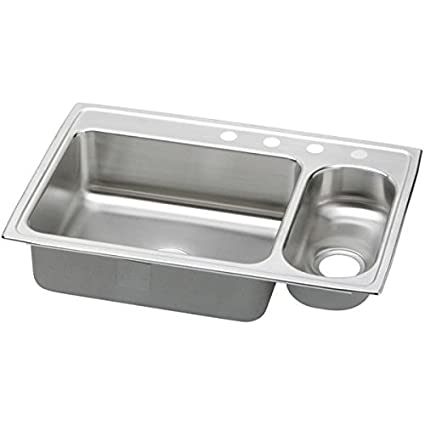 Elkao|#Elkay PSMR3322R4 20 Gauge Stainless Steel 33 Inch x 22 Inch x 7.25 Inch Double Bowl Top Mount Kitchen Sink, Small Bowl On Right Side, 4 Faucet Holes,