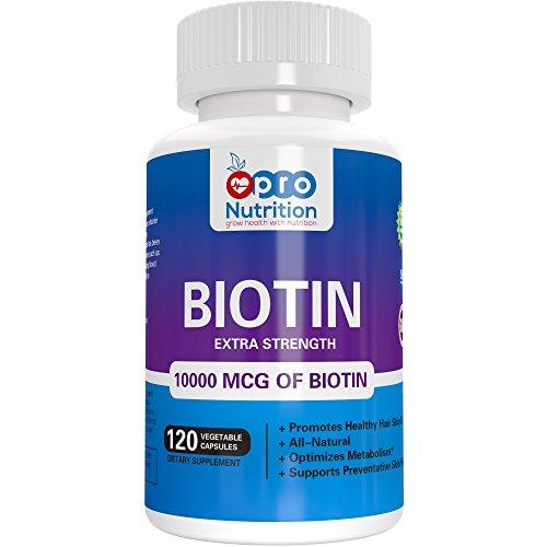 100% Vegan Biotin 10000 MCG Capsules - 120 Vegan Capsules; For Hair, Skin & Nails; Zero Animal Fat, Gluten Free...
