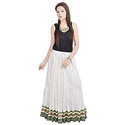 Prateek Retail Rajasthani Designer White Cotton Long Skirt