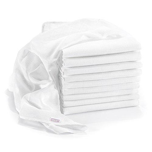 Mullwindeln / Spucktücher im 10er Pack, 80x80 cm, weiß | PREMIUM QUALITÄT - Schadstoffgeprüft, doppelt gewebt, verstärkte Umrandung, Öko-Tex Standard 100, kochfest | Stoffwindeln & Mulltücher fürs Baby