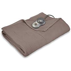 Sunbeam Quilted Fleece Heated Blanket, Queen, Mushroom, BSF9GQS-R772-13A00