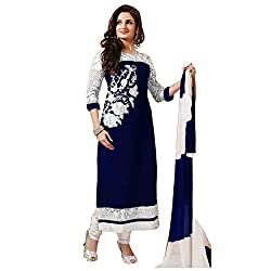 RajLaxmi Women's Fashion Dark Blue & White Georgette Dress Material