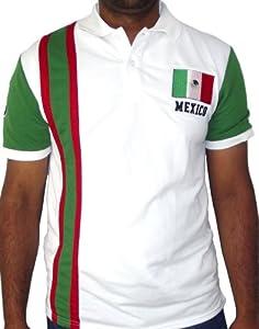 Buy True Rock Mexico Mens Striped White Polo Sports Shirt (Medium) by True Rock